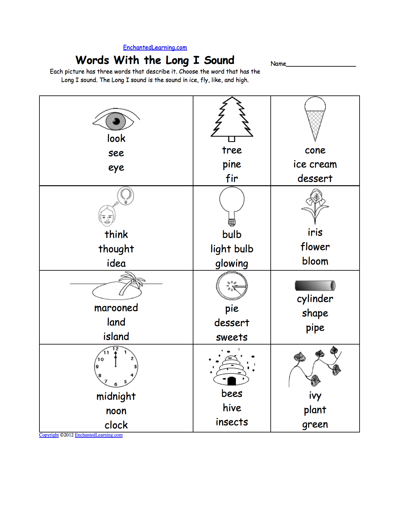 Long I Alphabet Activities at EnchantedLearning.com