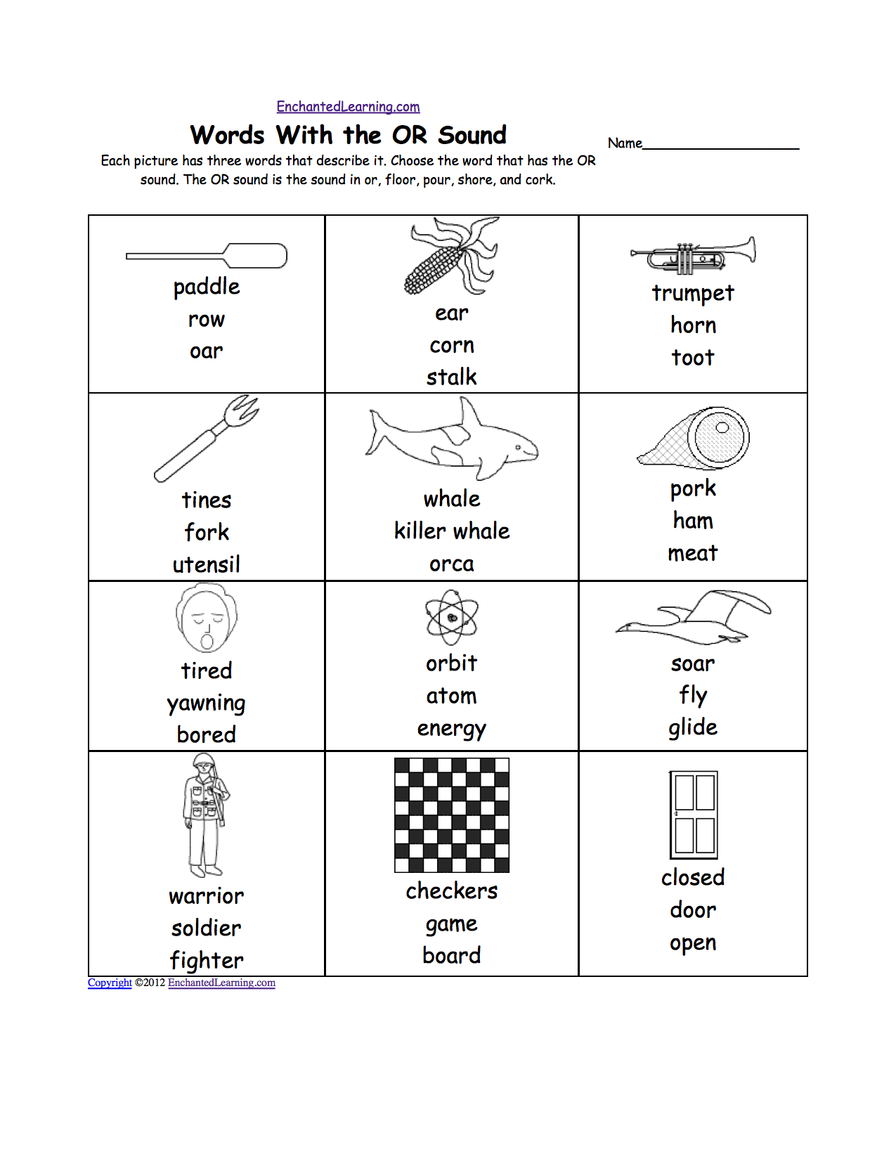 worksheet Or Worksheets phonics worksheets multiple choice to print or worksheet each picture has three words that describe it choose the word or