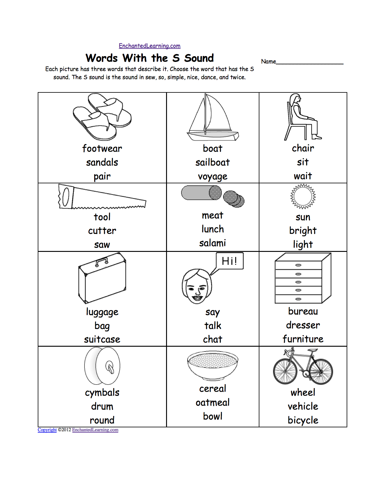 Worksheets S Sound Worksheets letter s alphabet activities at enchantedlearning com phonics worksheet multiple choice each picture has three words that describe it choose the word sound
