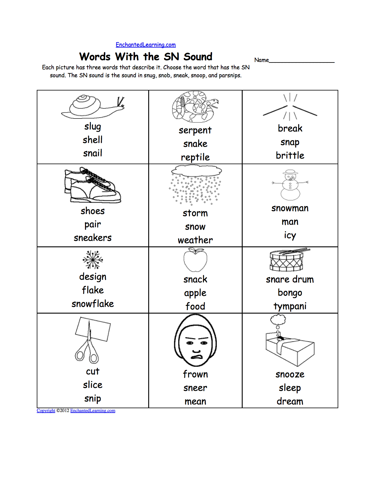 Sn phonics worksheet multiple choice