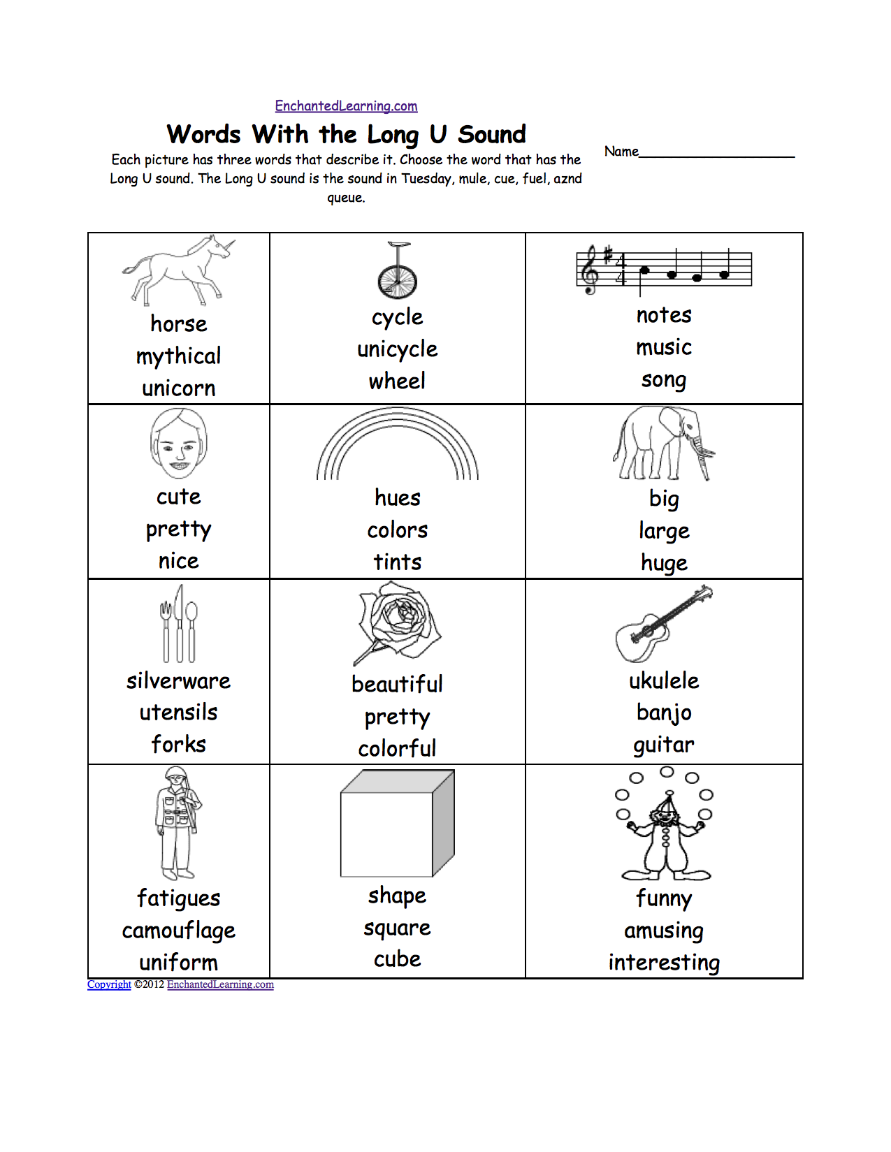 Worksheet Letter U Words For Preschool long u alphabet activities at enchantedlearning com each picture has three words that describe it choose the word short sound is in