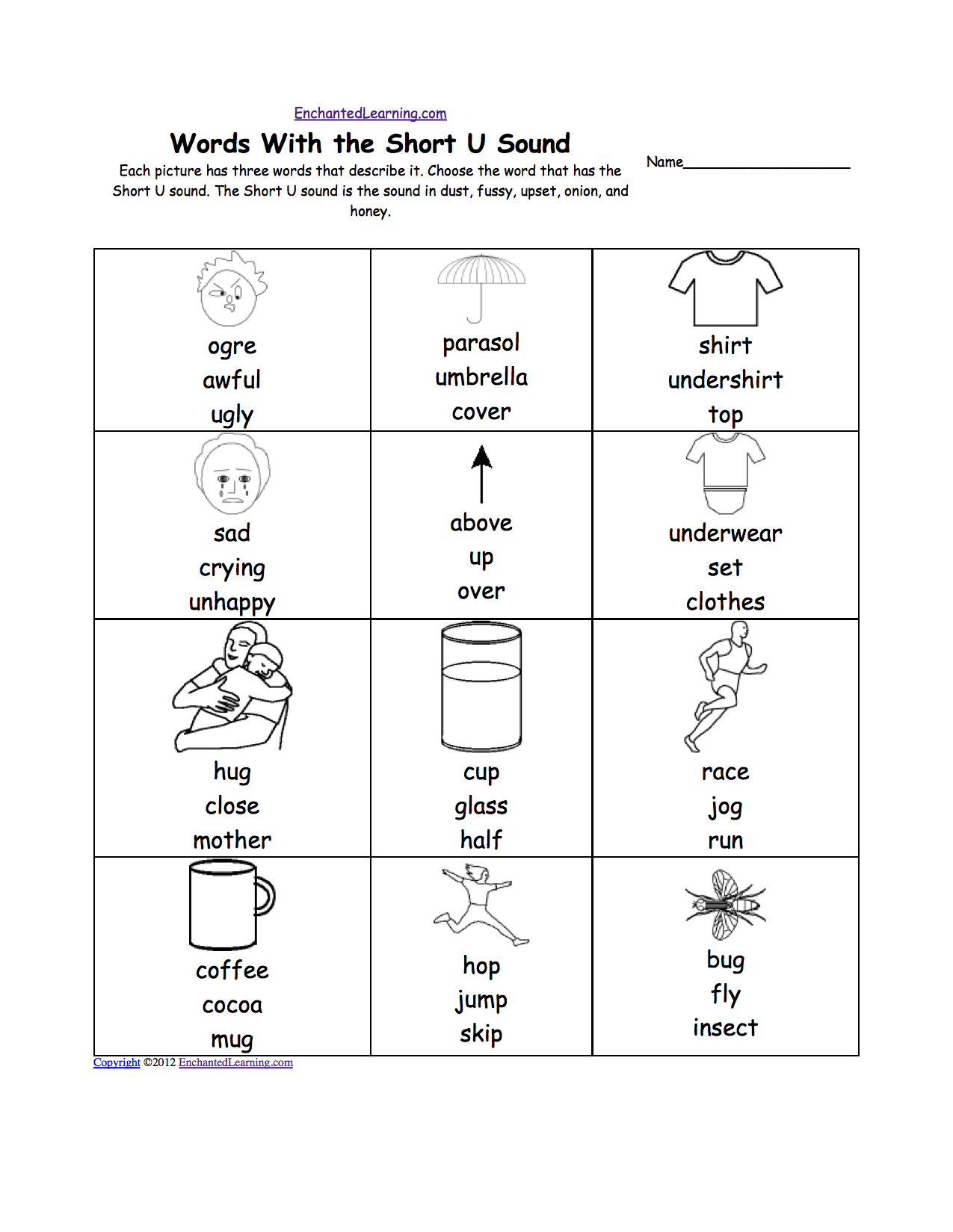 Worksheet Letter U Words For Preschool short u alphabet activities at enchantedlearning com each picture has three words that describe it choose the word sound is u