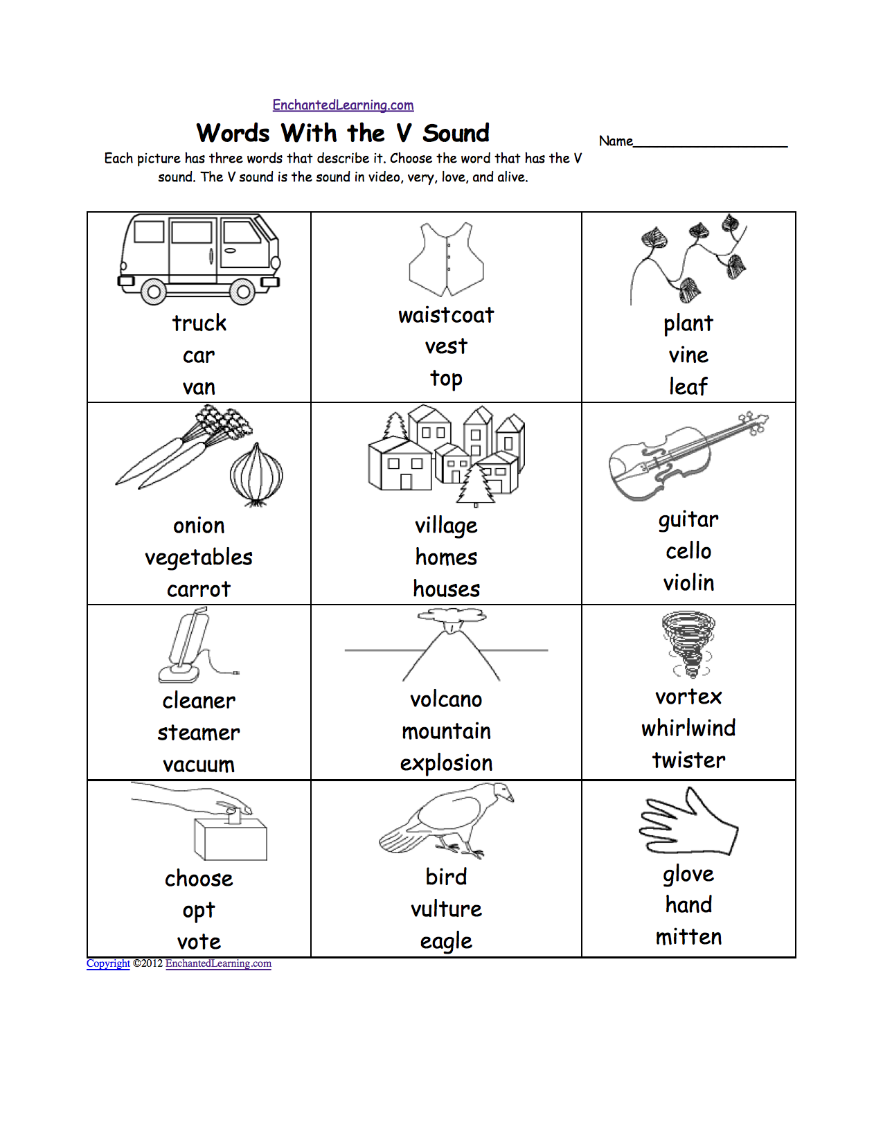 Letter V Alphabet Activities at EnchantedLearning – Letter V Worksheets for Kindergarten