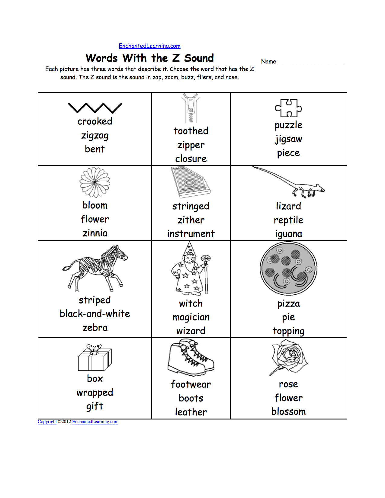 Letter Z Alphabet Activities at EnchantedLearning – Letter Z Worksheet