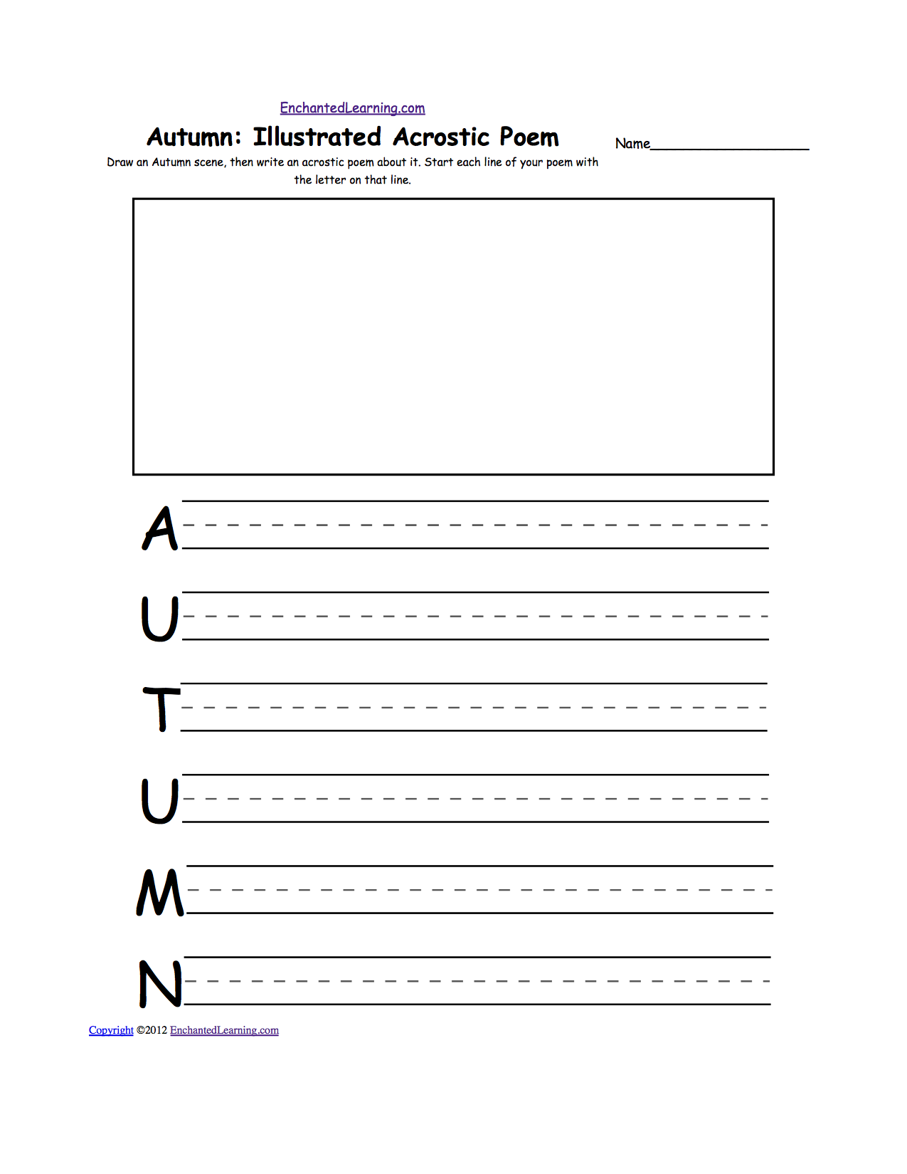 Fall K3 Theme Page at EnchantedLearning – Fall Worksheets