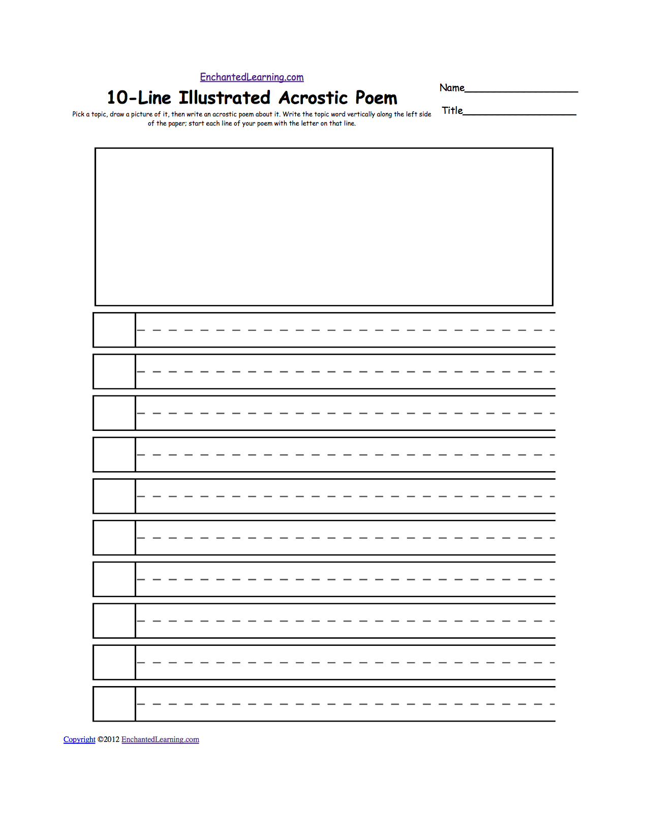 Worksheets Dotted Line Page blank illustrated acrostic poem worksheets handwriting lines pick a topic draw picture of it then write an about on dotted the word vertically along left