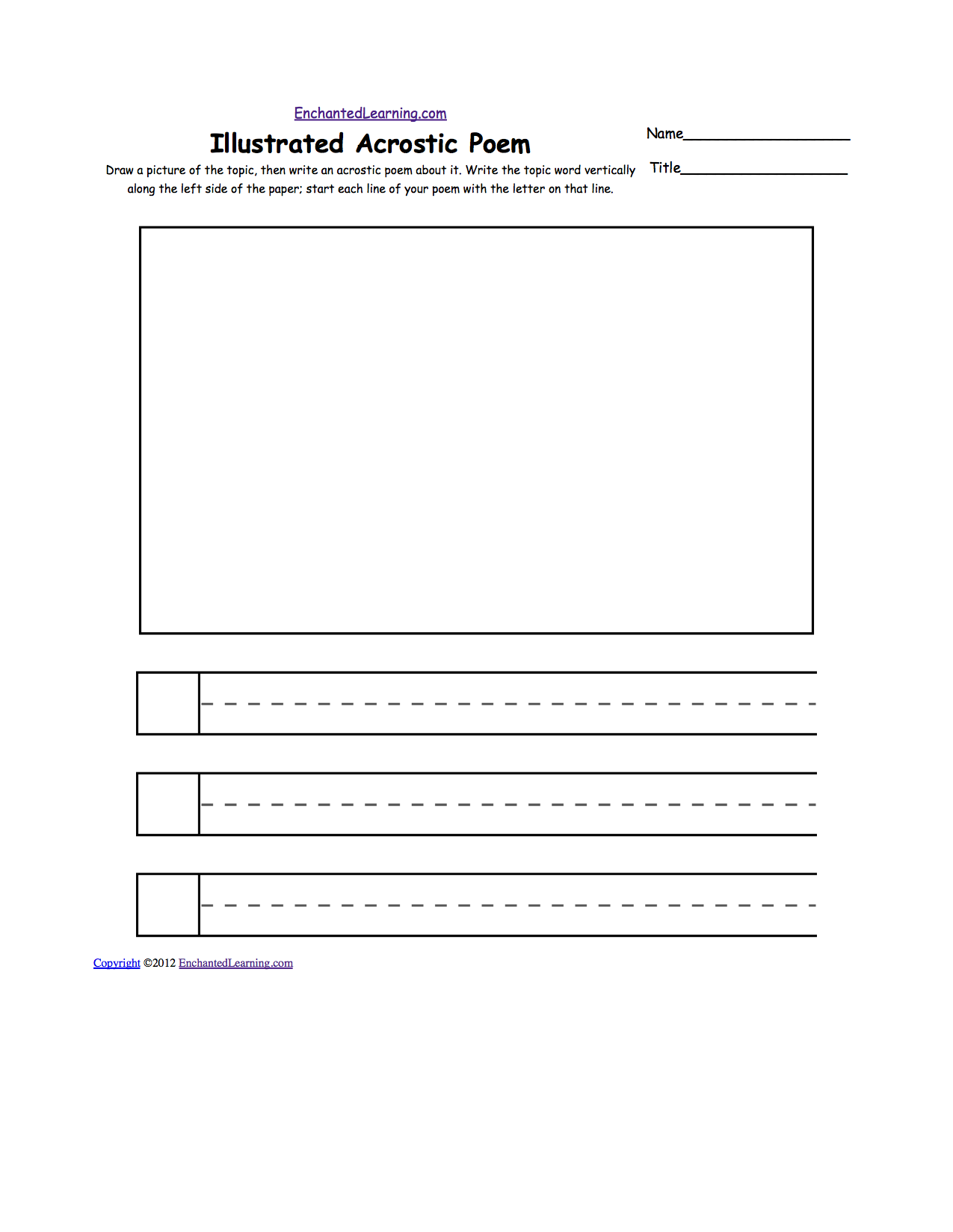 Blank Illustrated Acrostic Poem Worksheets (Handwriting Lines): Worksheet  Printout   EnchantedLearning.com  Notebook Paper Word Template
