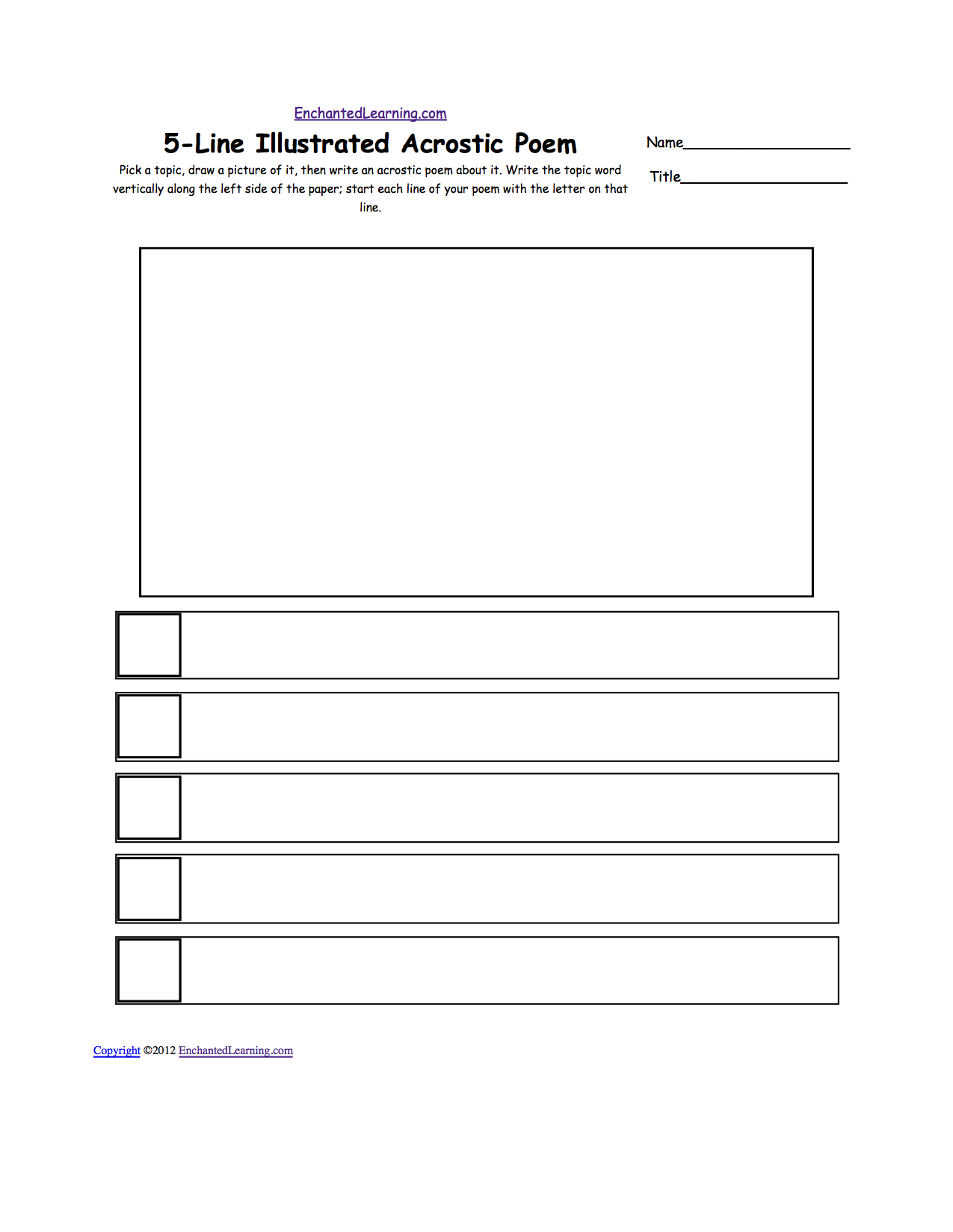 Blank Illustrated Acrostic Poem Worksheets Worksheet Printout – Poem Worksheets