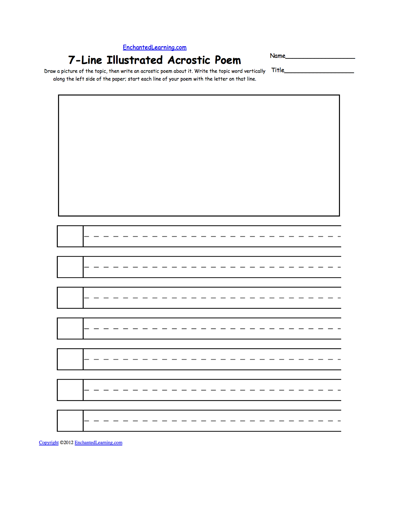 Blank Illustrated Acrostic Poem Worksheets Handwriting Lines – Respect Worksheets