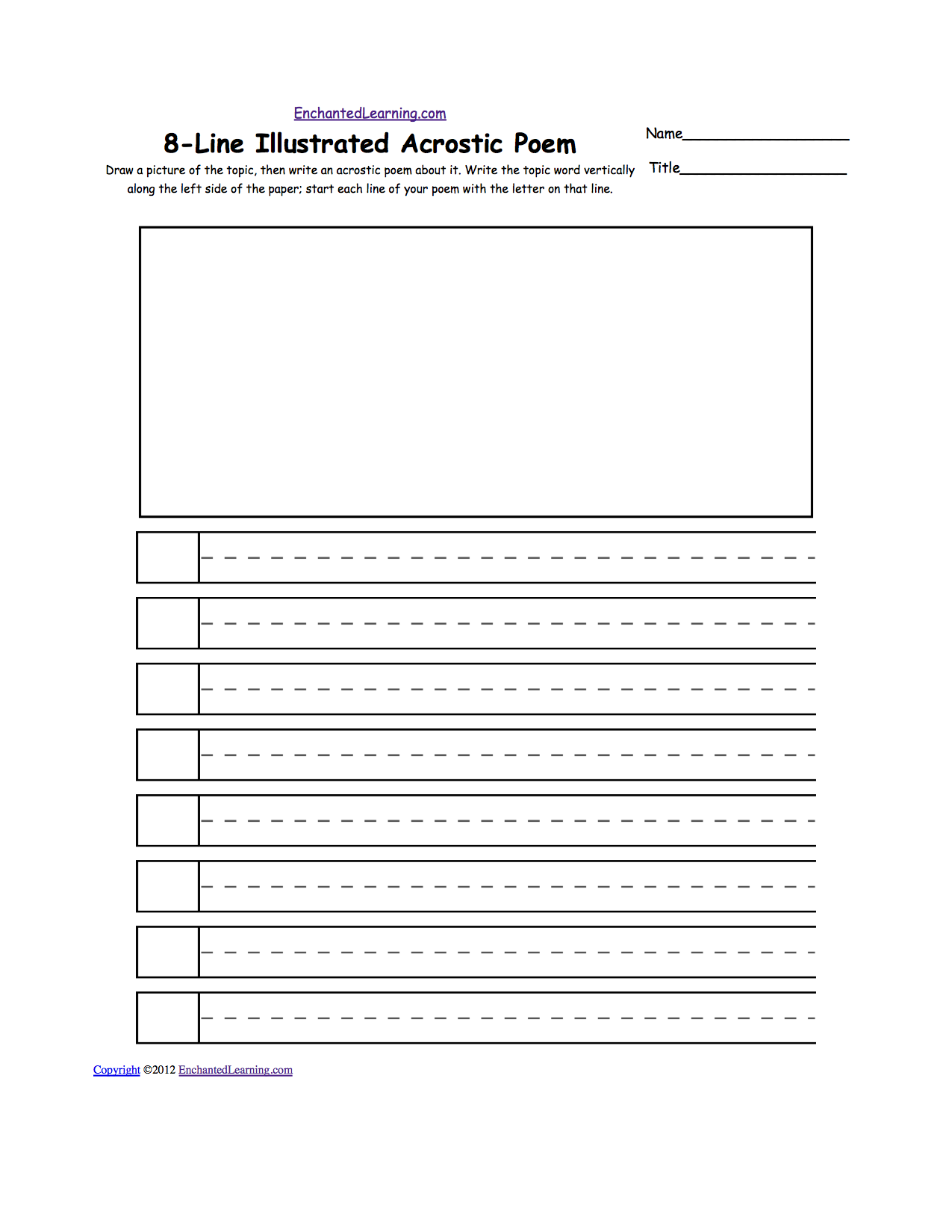Printables Poem Worksheets blank illustrated acrostic poem worksheets handwriting lines pick a topic draw picture of it then write an about on dotted the word vertically along left s