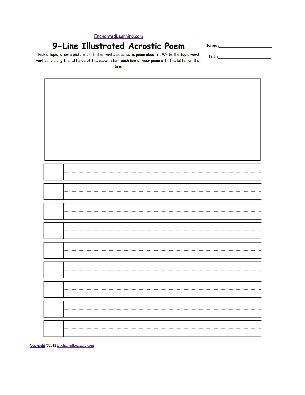 Blank Illustrated Acrostic Poem Worksheets Handwriting Lines