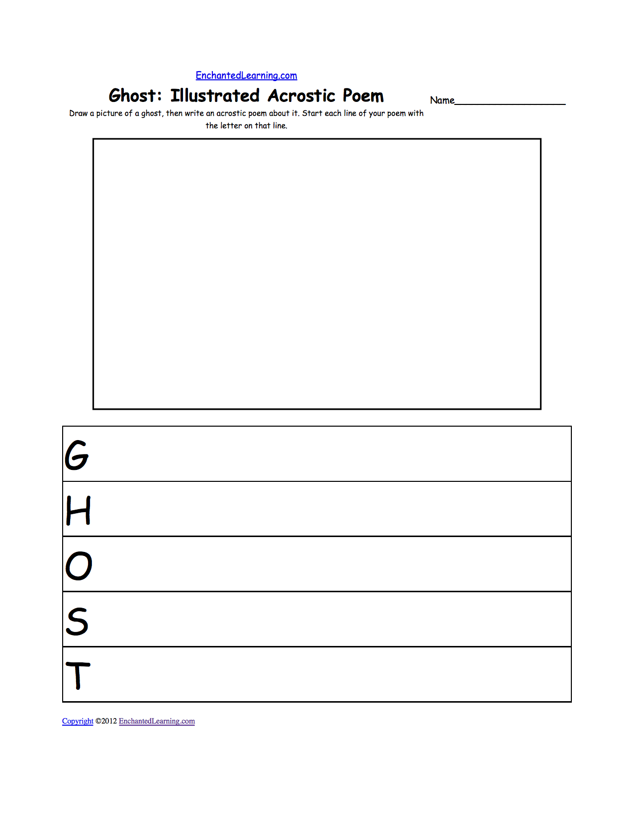 halloween activities writing worksheets com draw a picture of a ghost then write an acrostic poem about it start each line of your poem the letter on that line or go to