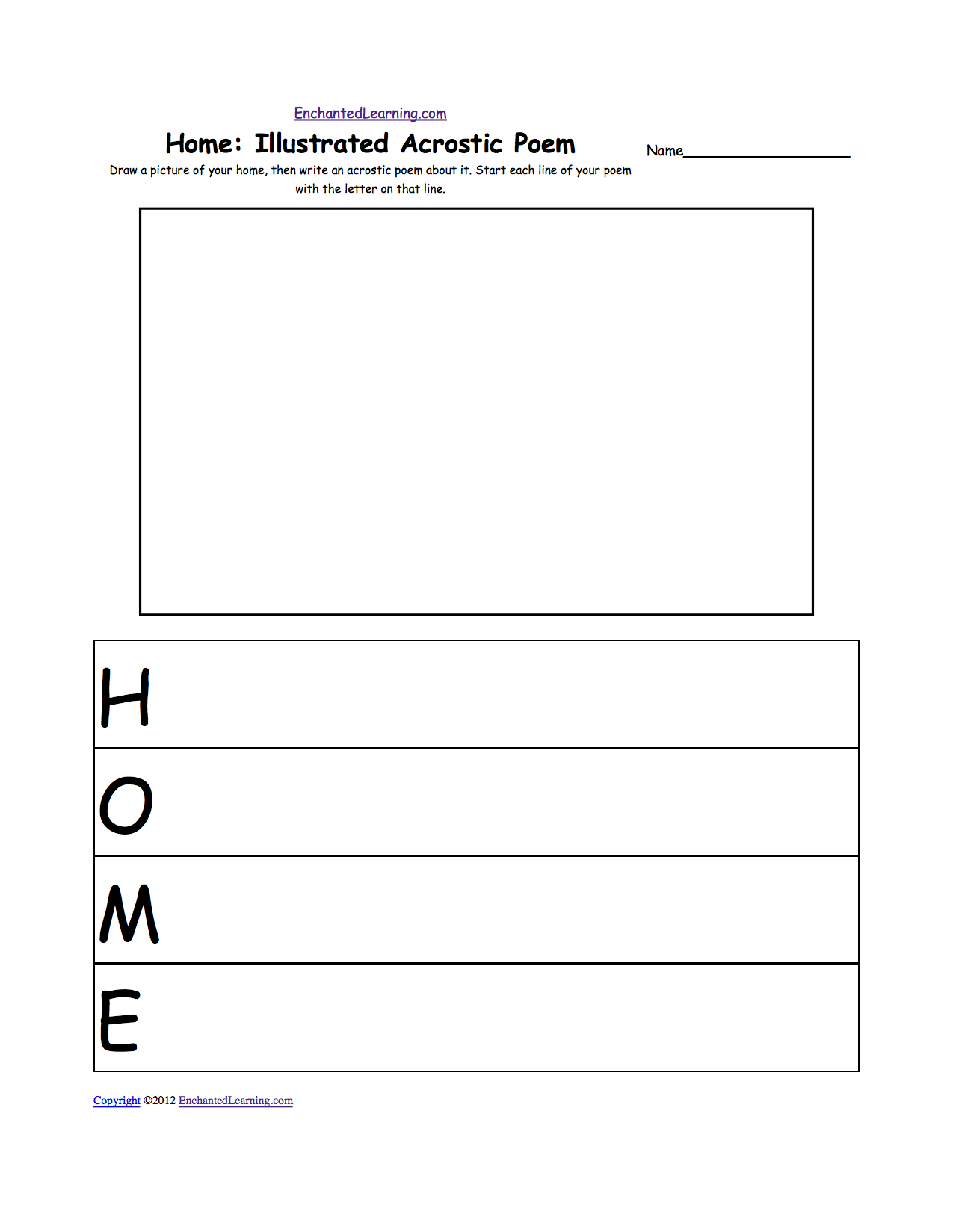 Illustrated Acrostic Poem Worksheets: Worksheet Printout ...