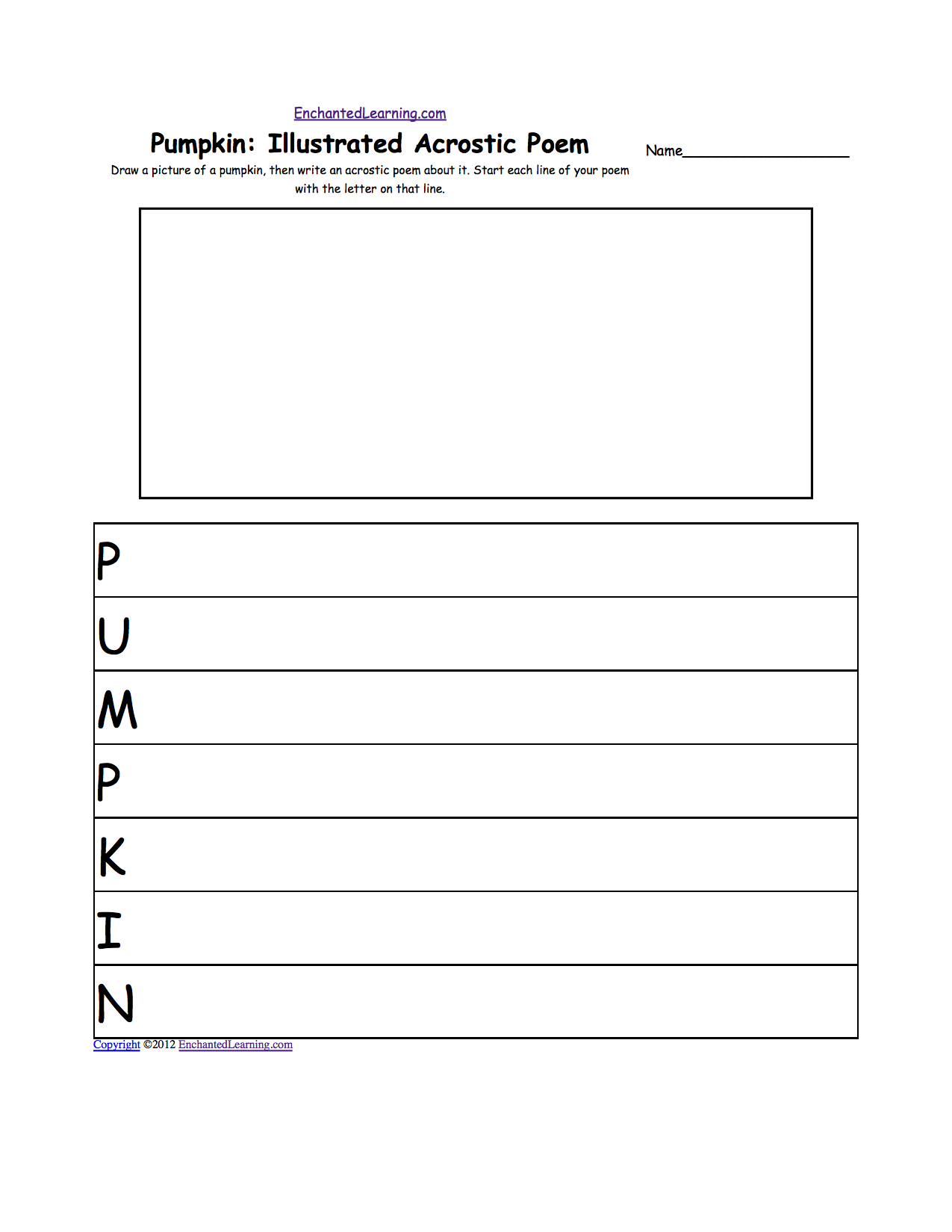 Printables Poem Worksheets illustrated acrostic poem worksheets worksheet printout enchantedlearning com