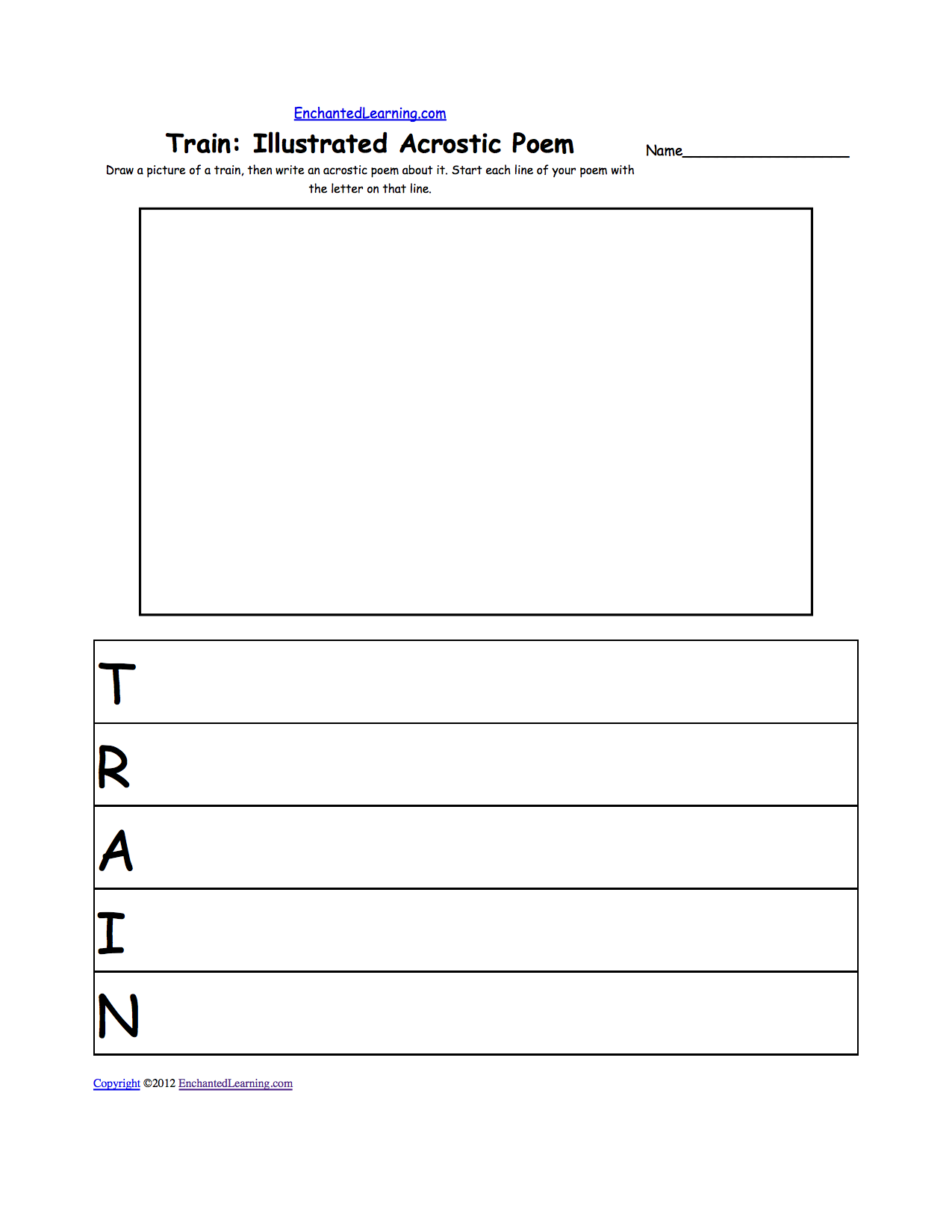 Writing Worksheets TransportationVehicles at EnchantedLearning – Writing Name Worksheets