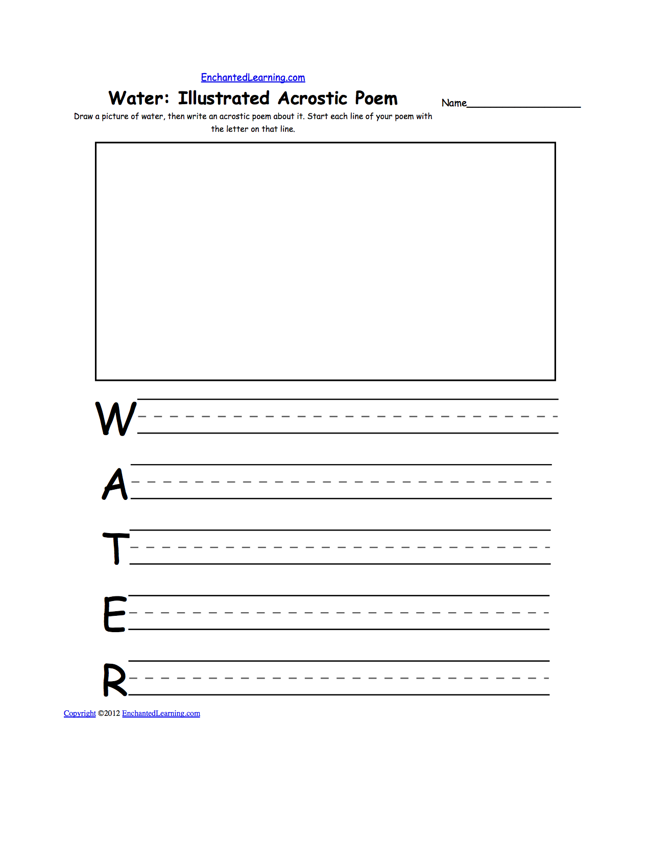 water related activities at enchantedlearning com draw a picture of water then write an acrostic poem about it start each line of your poem the letter on that line