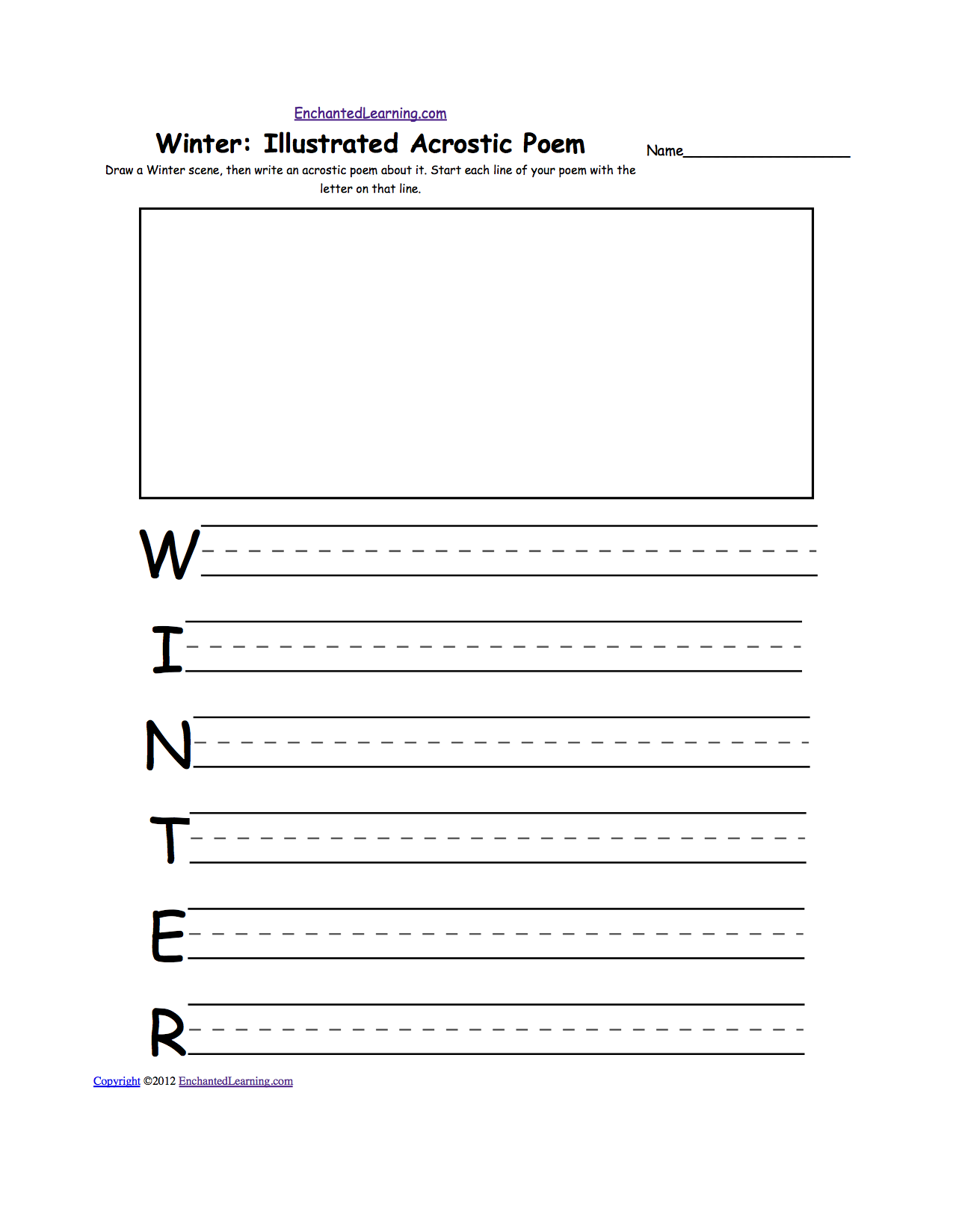 writing worksheets winter k theme page at enchantedlearning com draw a winter scene then write an acrostic poem about it start each line of your poem the letter on that line