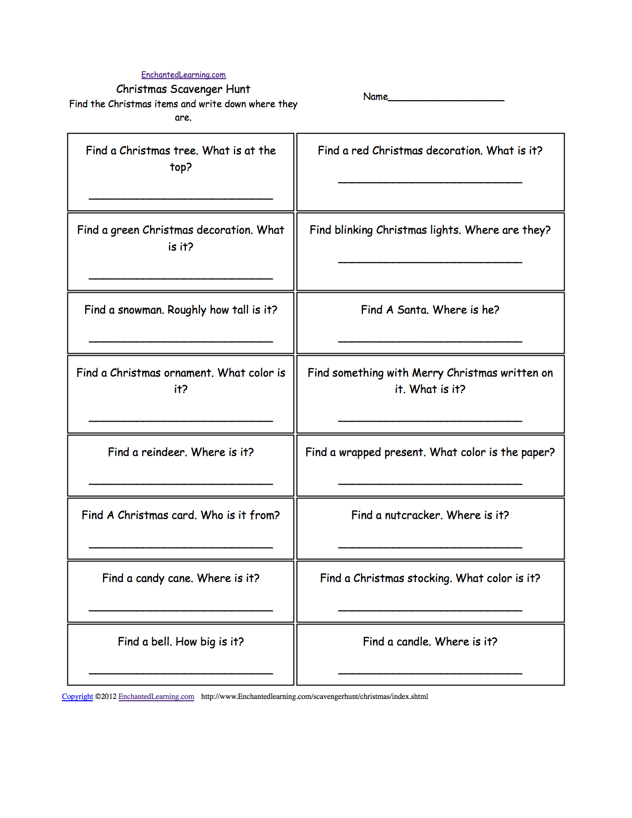 Worksheets Treasure Hunt Math Worksheet scavenger hunts to print enchantedlearning com hunt