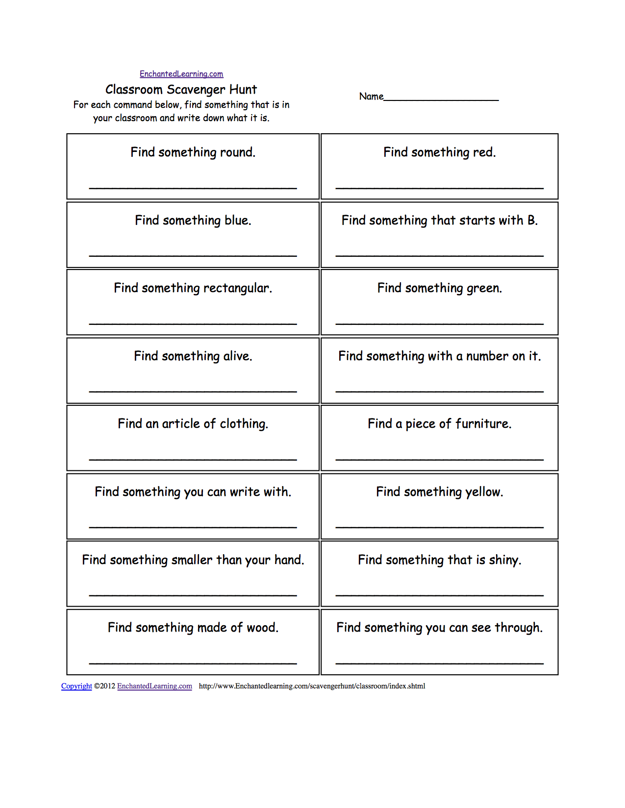 Scavenger Hunts to Print EnchantedLearning – Library Worksheets