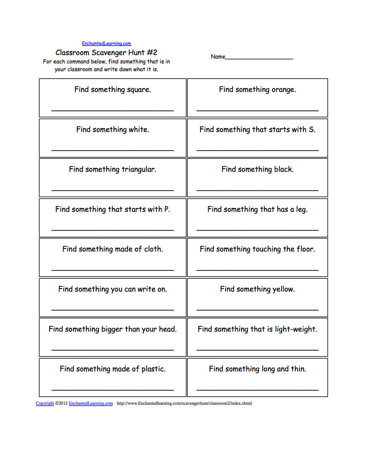 Worksheets Treasure Hunt Math Worksheet scavenger hunts to print enchantedlearning com classroom hunt 2