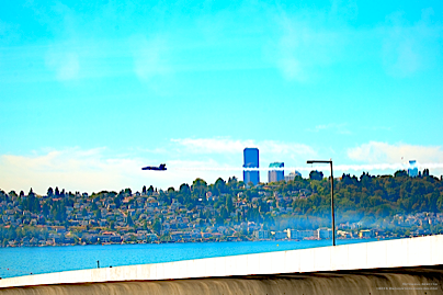 Blue Angel in Front of the Seattle Skyline