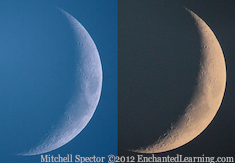 Waxing Crescent Moon, Day and Night