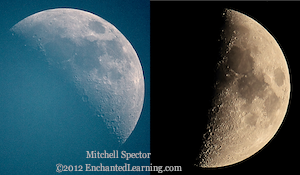 Nearly First Quarter Moon, Day and Night