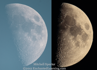 Just Past First Quarter Moon, Day and Night