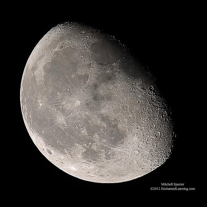 Waning Gibbous Moon, 77% Illuminated - EnchantedLearning.com Waning Gibbous Moon Phase