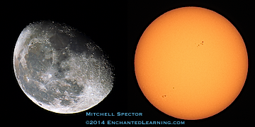 Waning Gibbous Moon and the Sun the Following Day