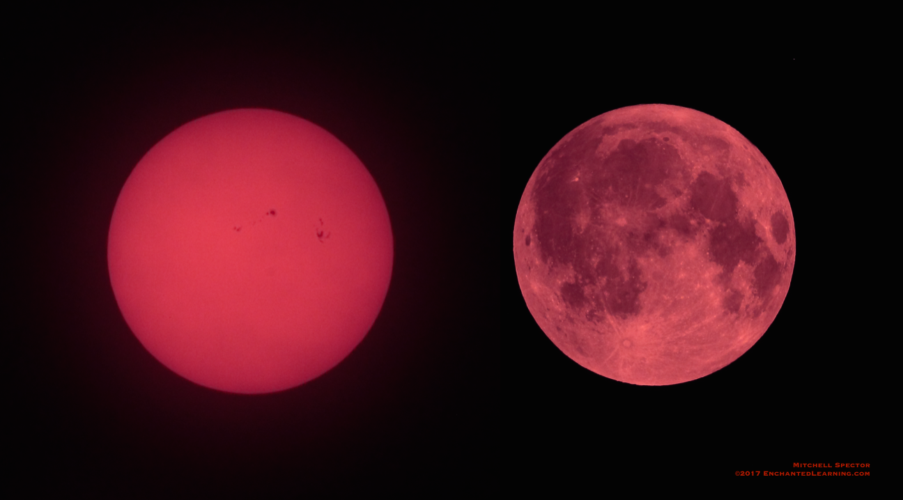 Sun and Full Moon, Red from Wildfire Smoke
