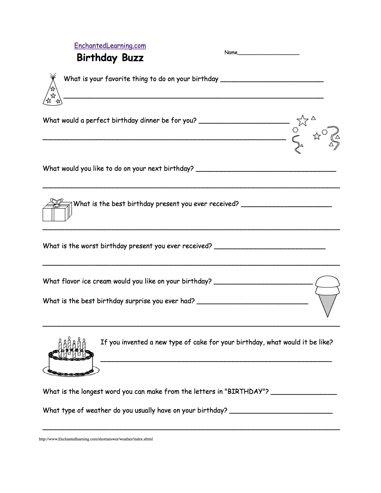 Writing Worksheets Birthday Activities at EnchantedLearning – Writing Name Worksheets