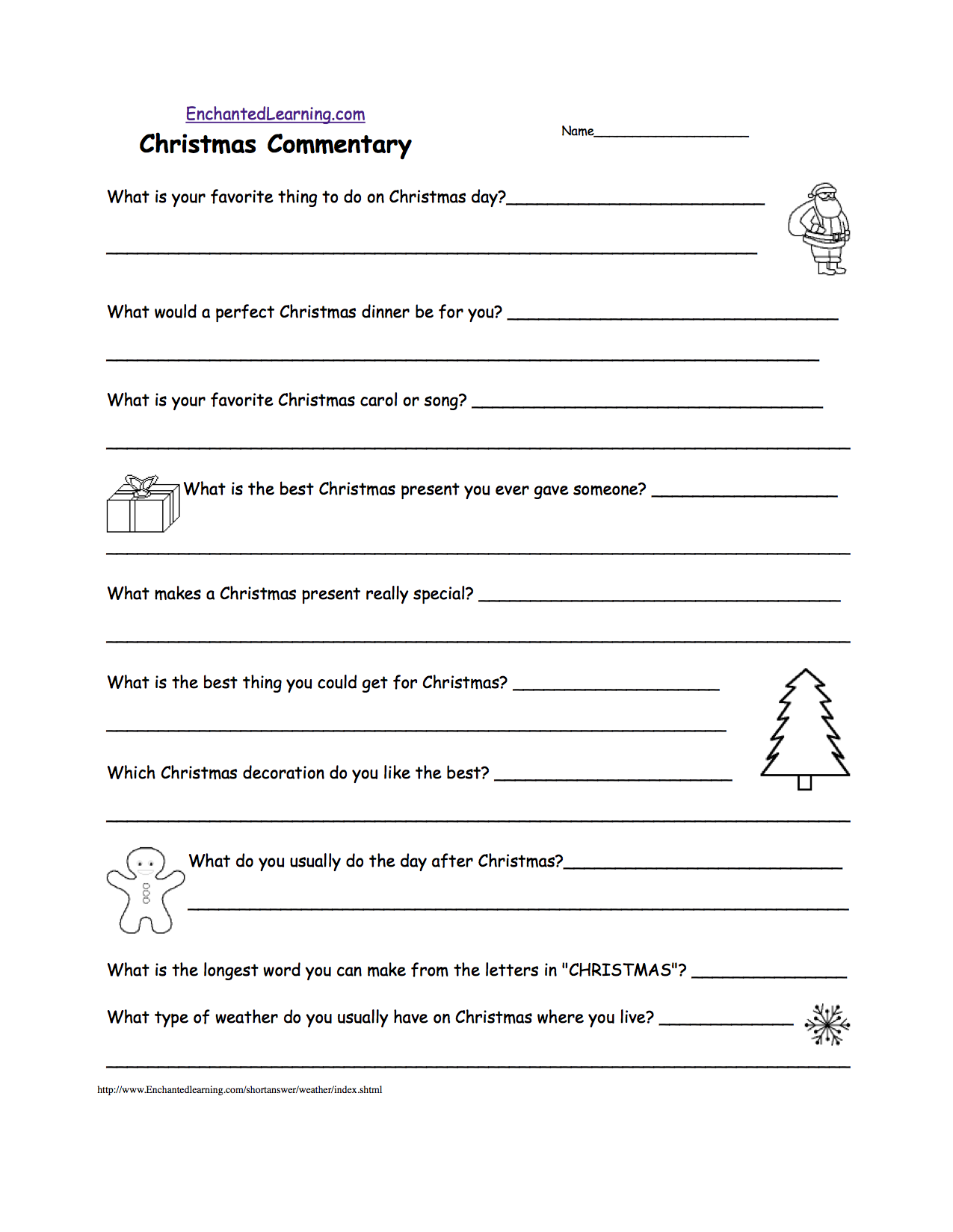 Christmas Activities Writing Worksheets EnchantedLearning – Printable Christmas Worksheets