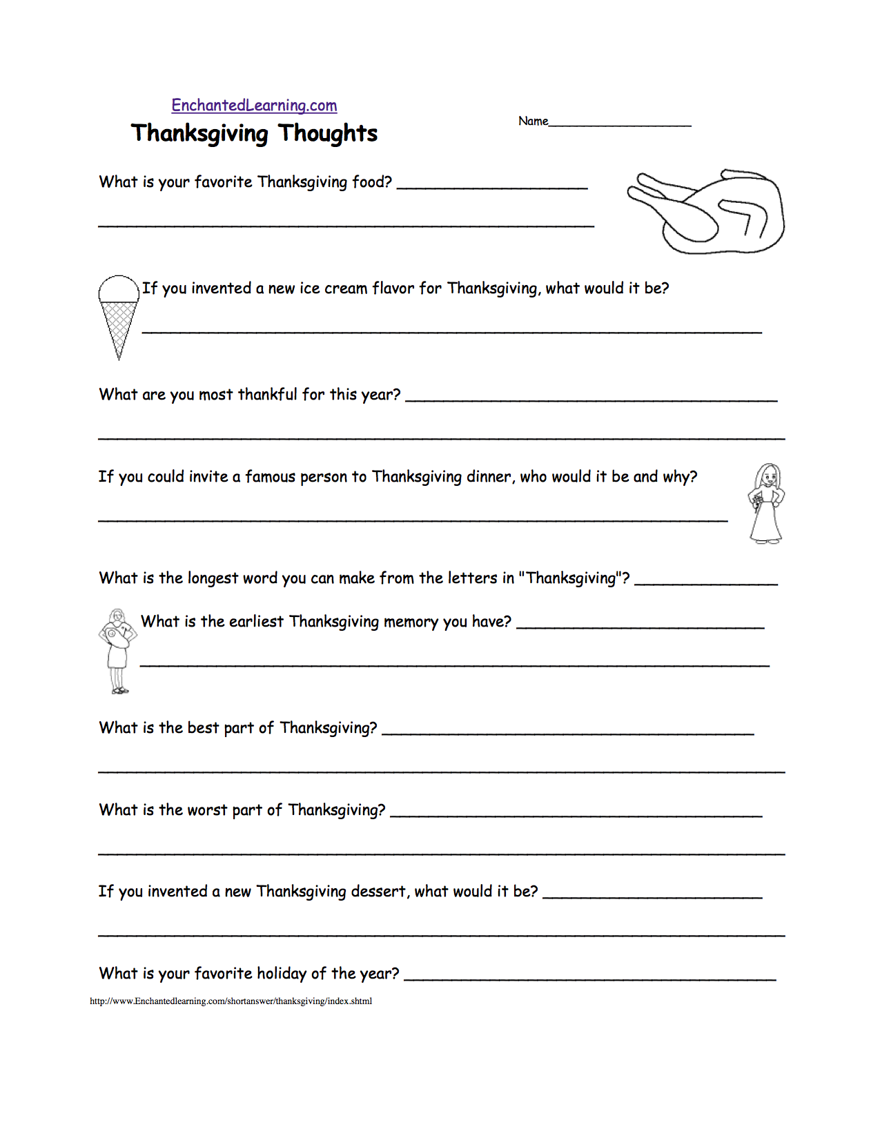 Thanksgiving Crafts, Worksheets, and Activities - EnchantedLearning.com