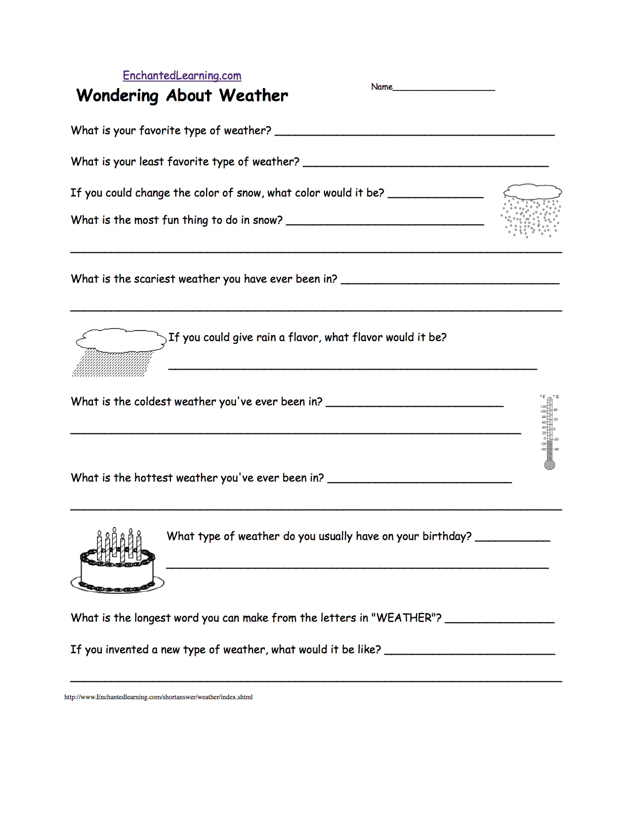 {WeatherRelated Activities at EnchantedLearning – Weather Worksheets for 2nd Grade
