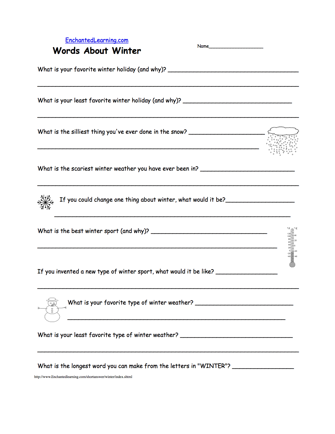 Weather the short answer worksheet asks 10 questions about winter