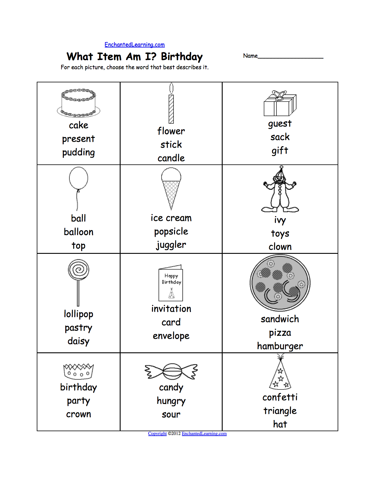 worksheet Who Am I Worksheet what am i worksheet printouts enchantedlearning com birthday party for each picture choose the word that best describes it or go to answers
