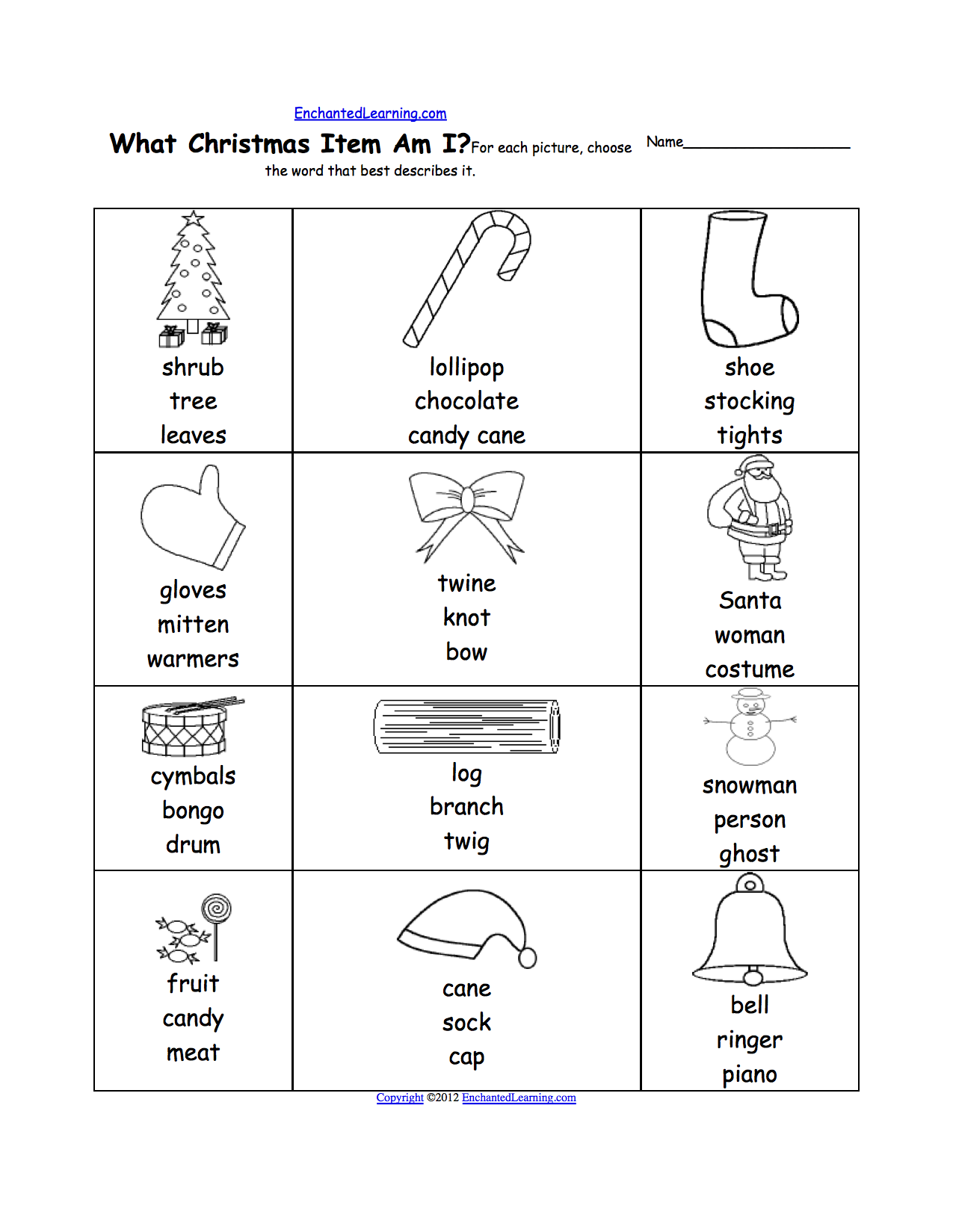 Christmas Crafts for Kids EnchantedLearning – Christmas Math Worksheets for First Grade