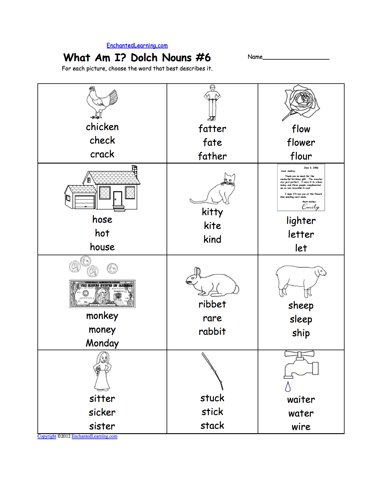 What am I? Dolch Nouns Worksheet Printouts ...