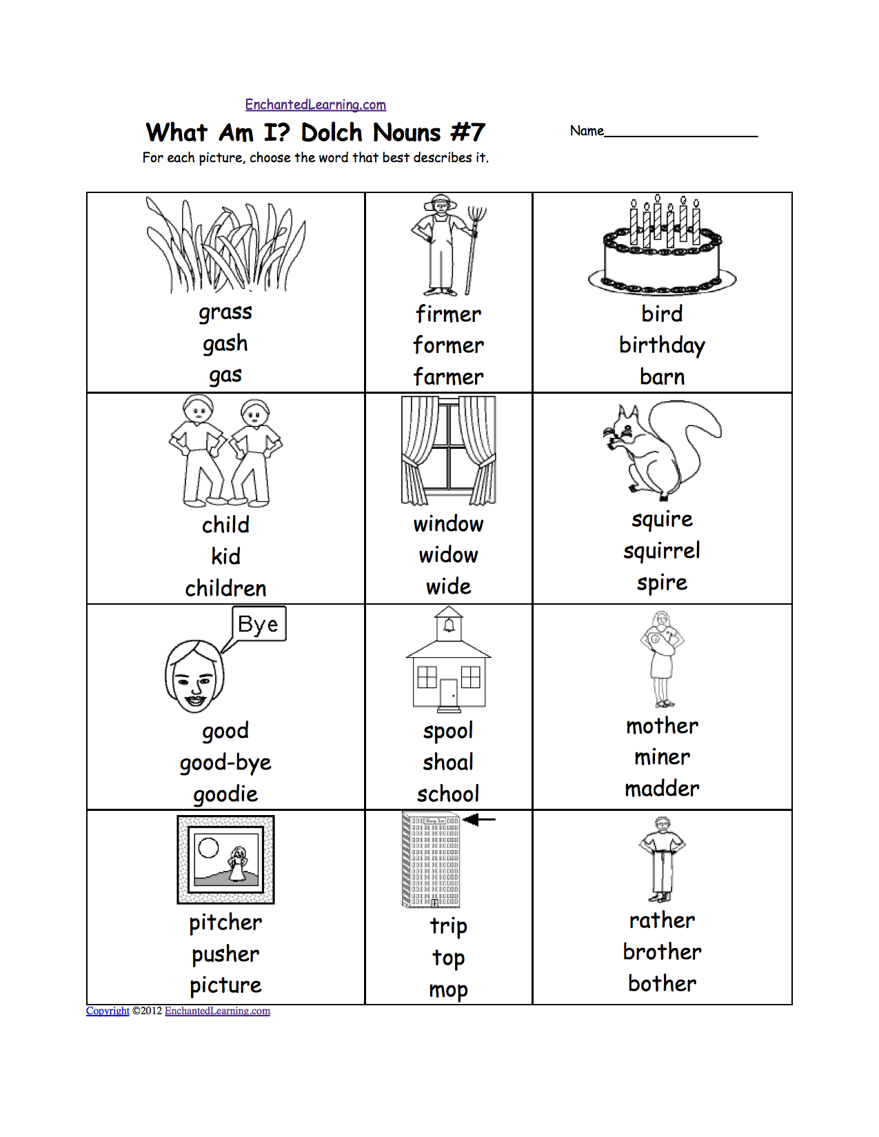 worksheet Who Am I Worksheet what am i dolch nouns worksheet printouts enchantedlearning com 7 for each picture of a noun choose the word that best describes it words are grass farmer bi