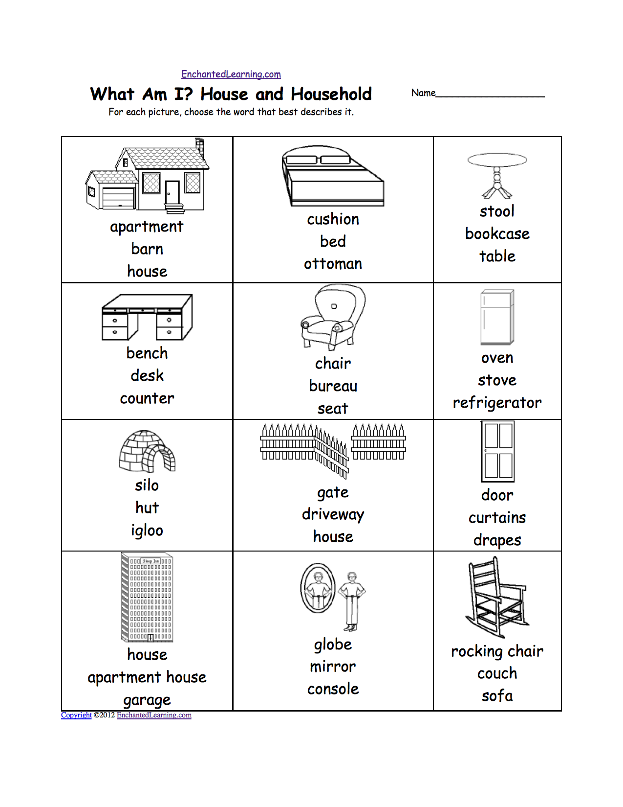 worksheet Computer Parts Worksheet homes and other dwellings at enchantedlearning com