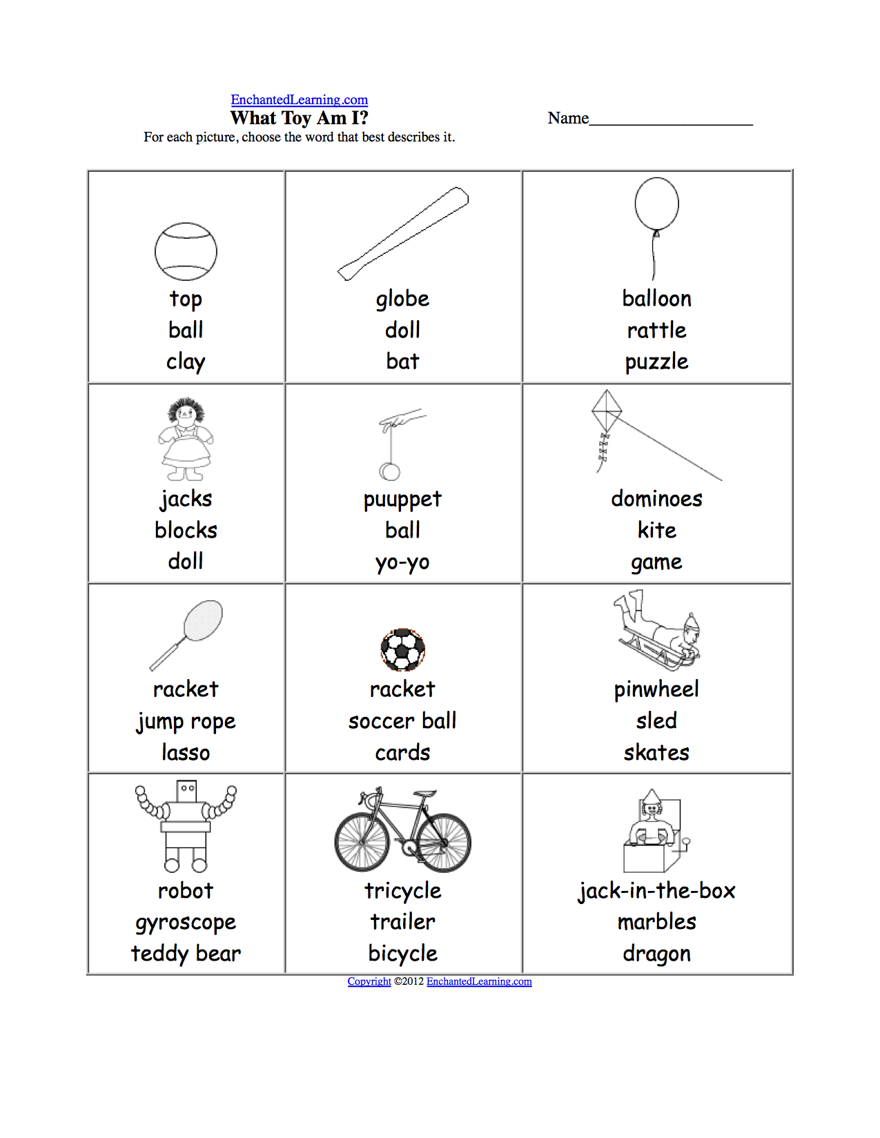worksheet Sports Worksheets sports at enchantedlearning com what toy am i for each choose the word that best describes it or go to answers