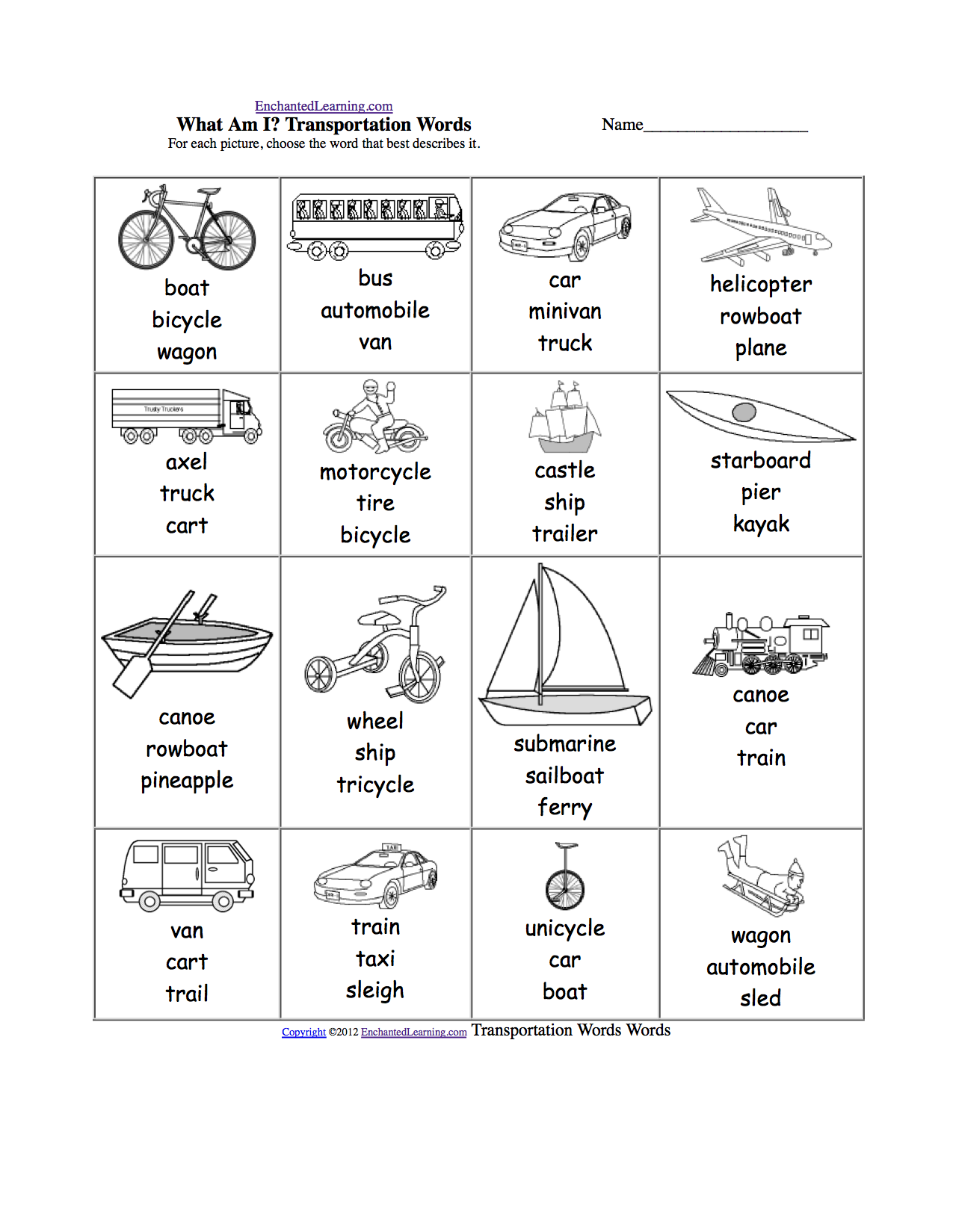 spelling worksheets transportation vehicles at enchantedlearning com