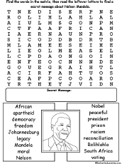 Nelson Mandela Wordsearch Enchantedlearning Com