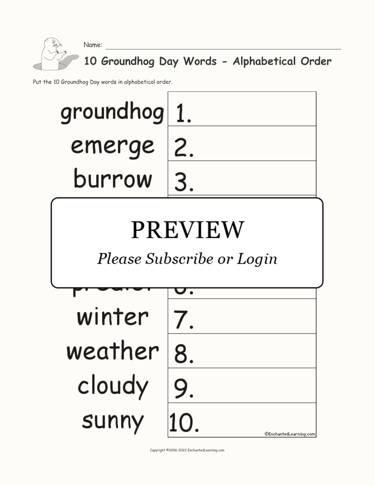 10 Groundhog Day Words - Alphabetical Order interactive worksheet page 1