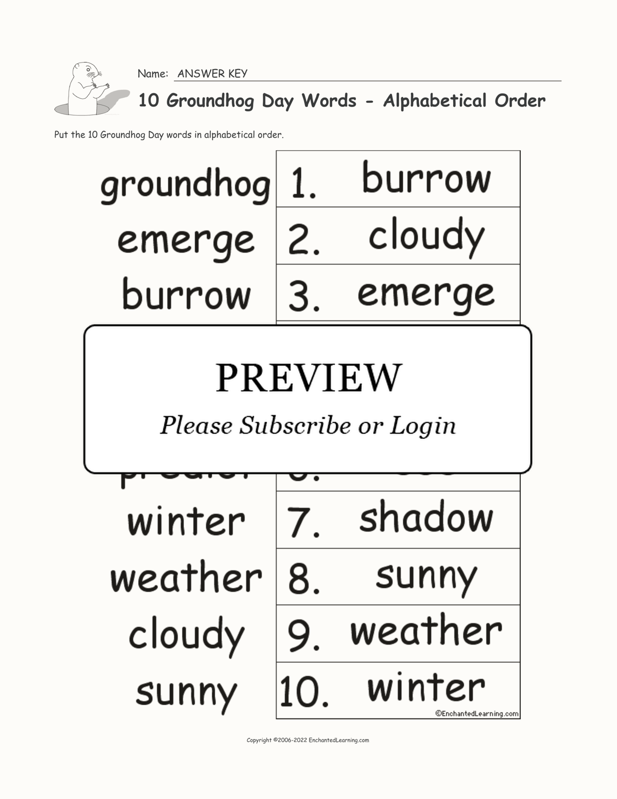 10 Groundhog Day Words - Alphabetical Order interactive worksheet page 2