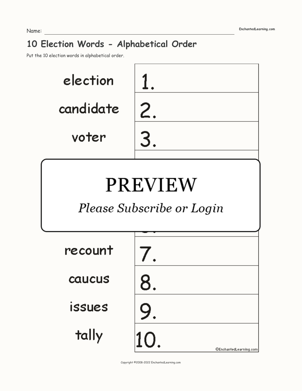 10 Election Words - Alphabetical Order interactive worksheet page 1