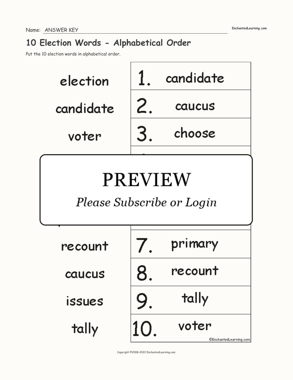 10 Election Words - Alphabetical Order interactive worksheet page 2