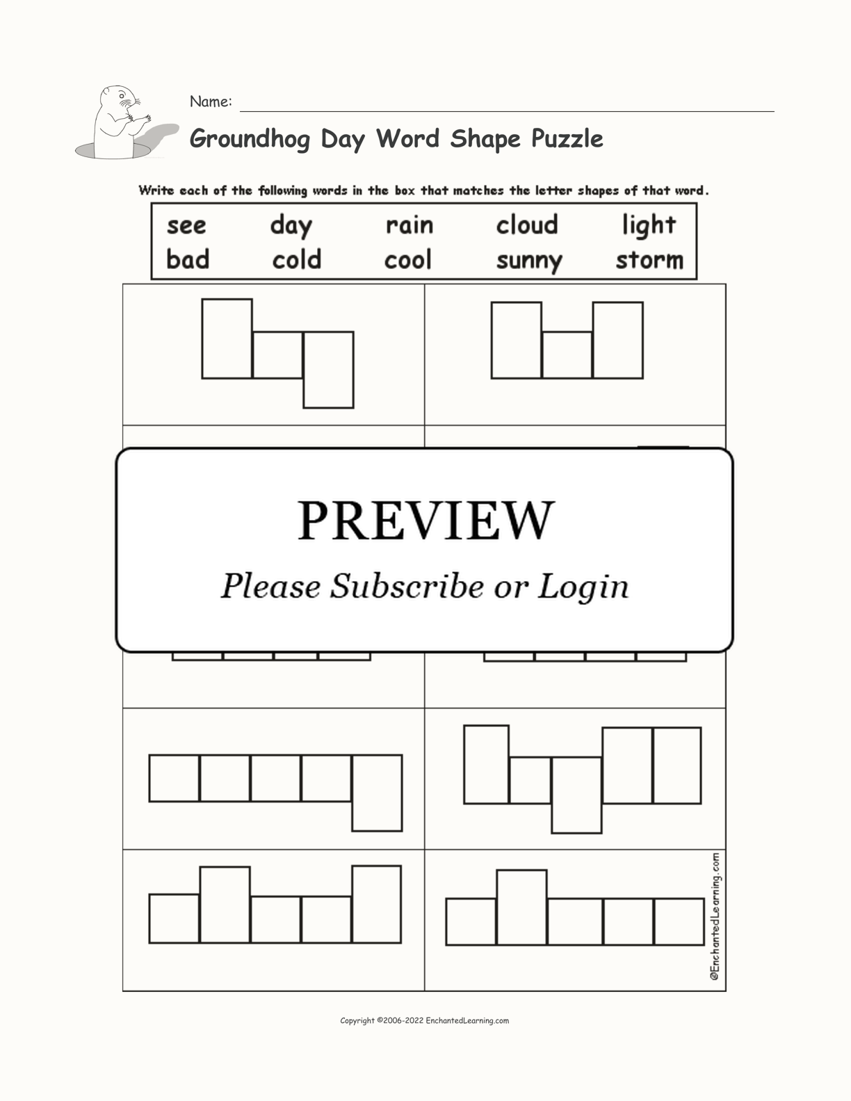 Groundhog Day Word Shape Puzzle interactive worksheet page 1