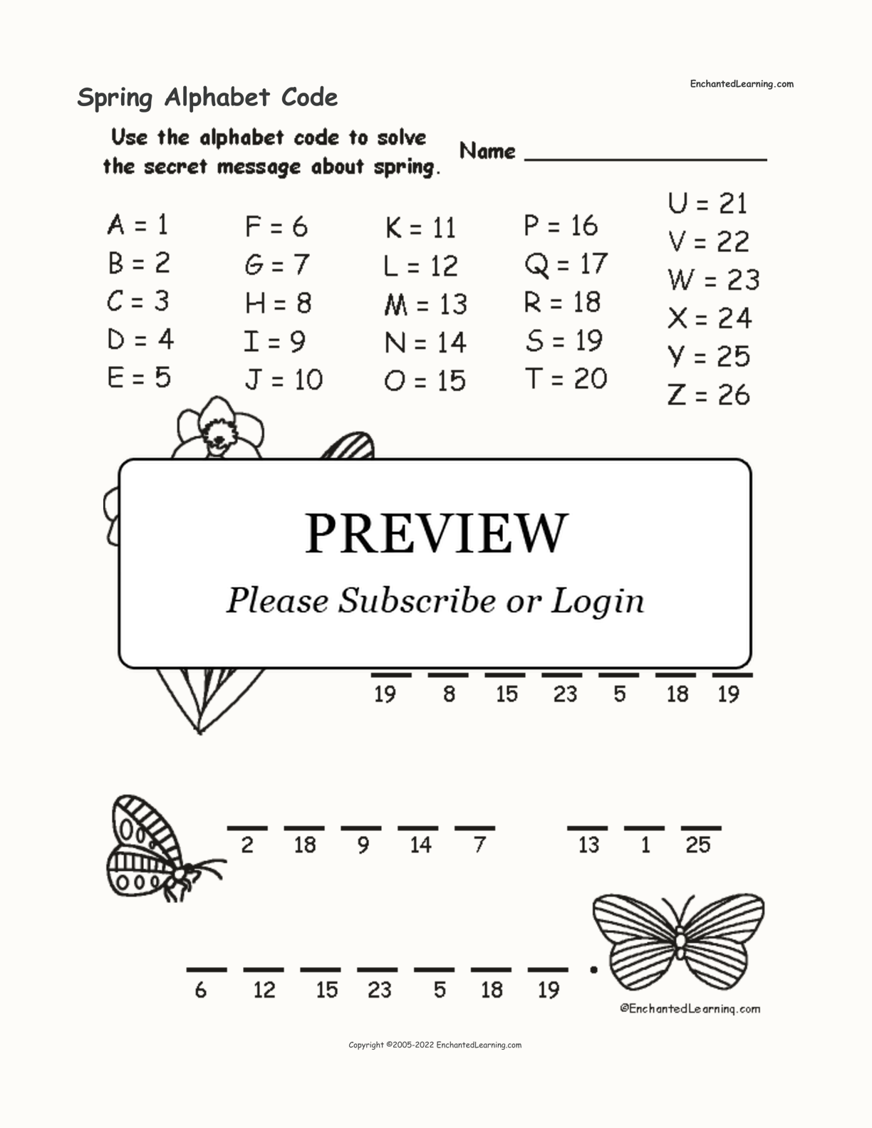 Spring Alphabet Code interactive worksheet page 1